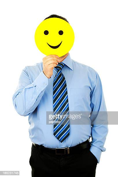 businessman with smile mask