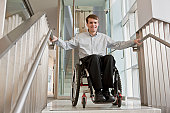 Businessman with spinal cord injury in a wheelchair at the top of stairs