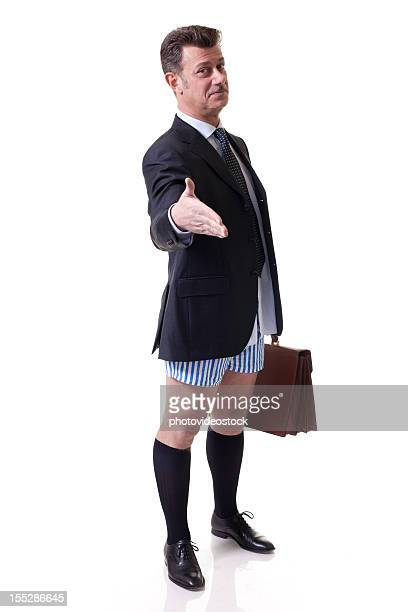 Businessman Without Pants Giving Hand, Isolated on White