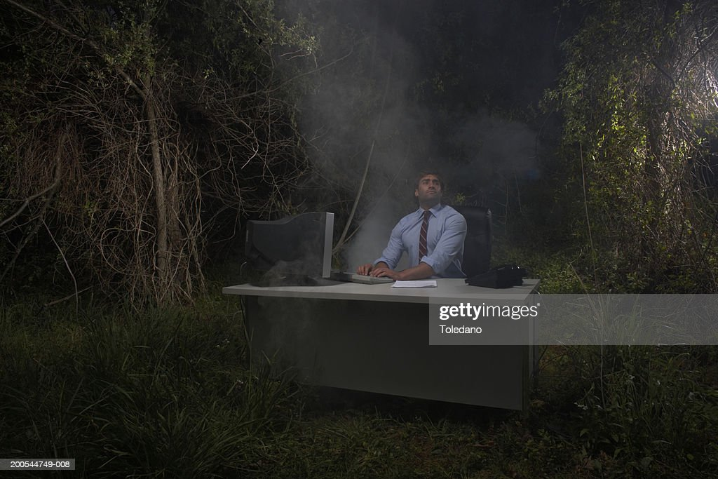 Businessman working at computer at desk in woods looking upwards : Stock Photo