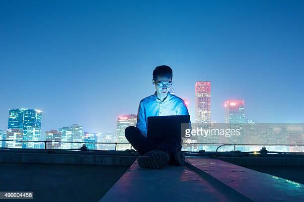 Businessman working at night