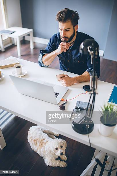 Businessman working at pet-friendly workplace