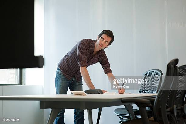 Businessman working in a conference room