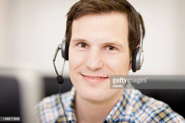 Businessman working in headset