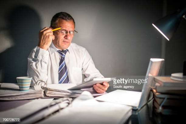 Businessman working late
