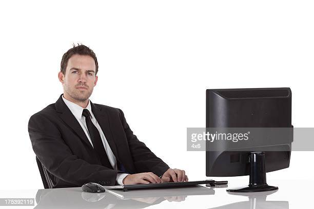 Businessman working on a computer in his office
