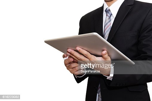 Businessman Working on Digital Tablet, isolated on white background : Photo