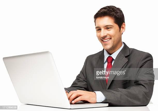Geschäftsmann Arbeiten auf Laptop-isoliert