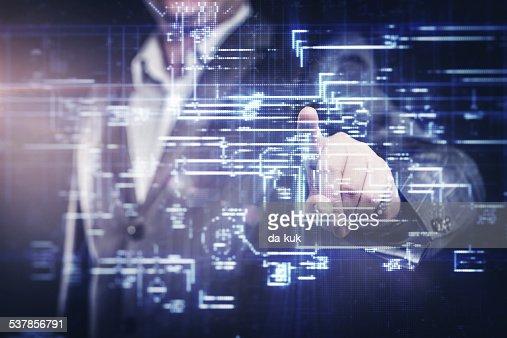 Businessman working with modern computer : Stockfoto
