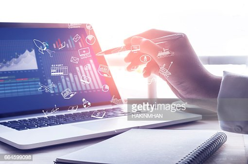 Businessman working with  modern laptop and icon.strategy concept : Foto stock
