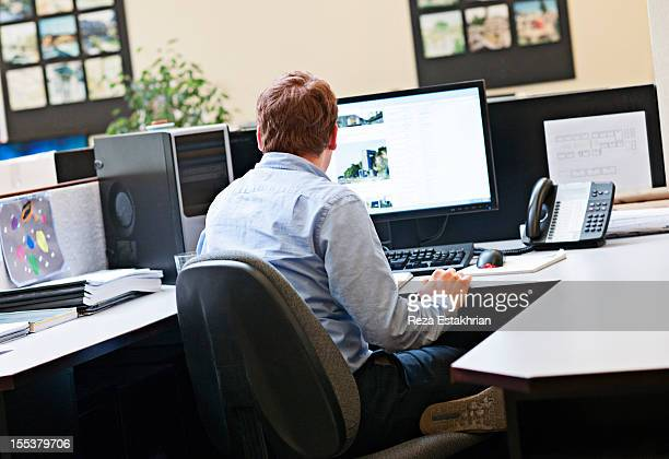 Businessman works on computer