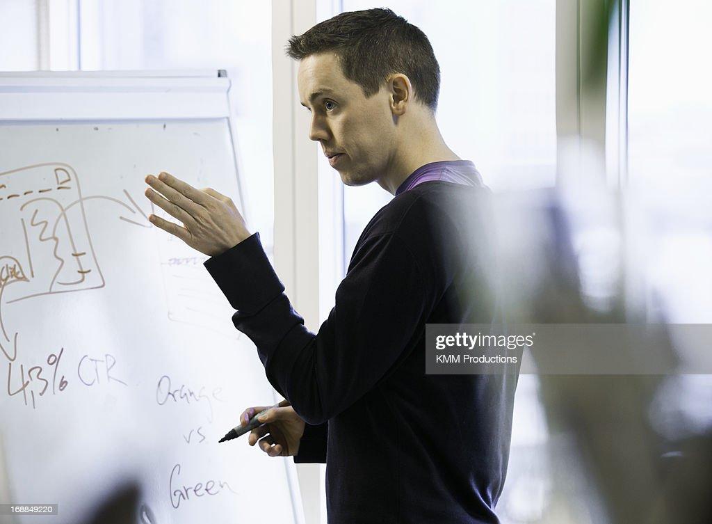 Businessman writing on whiteboard : Stock Photo