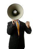 Businessman Yelling Into Bullhorn, Isolated on White