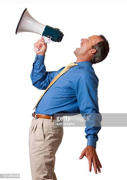 Businessman Yelling into Megaphone