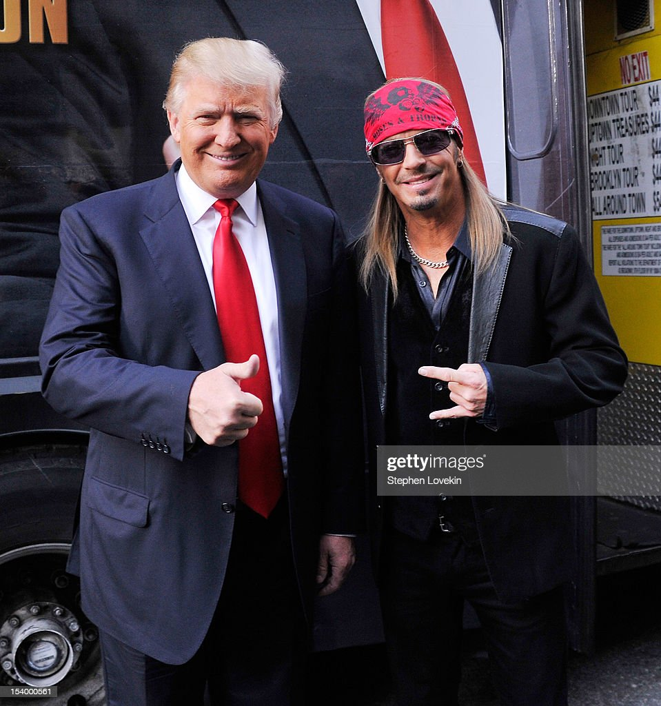 Businessman/host <a gi-track='captionPersonalityLinkClicked' href=/galleries/search?phrase=Donald+Trump+-+Born+1946&family=editorial&specificpeople=118600 ng-click='$event.stopPropagation()'>Donald Trump</a> and castmember singer/tv personality Brett Michaels attend the 'Celebrity Apprentice All Stars' Season 13 Bus Tour at on October 12, 2012 in New York City.