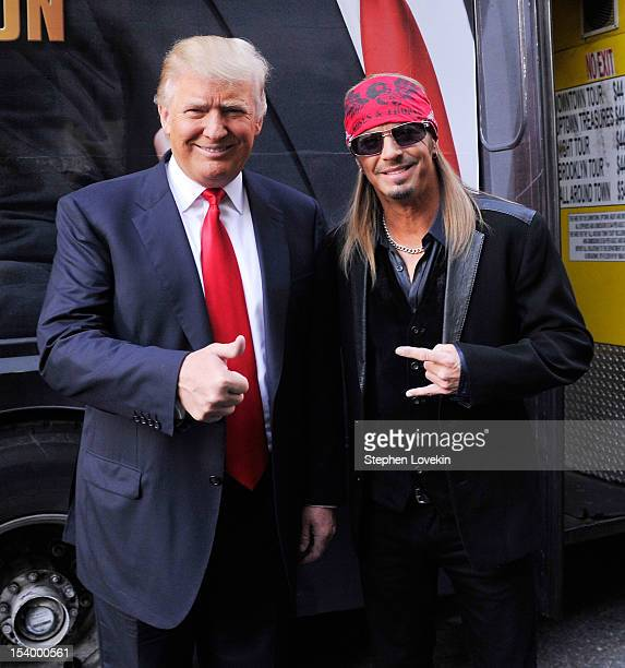 Businessman/host Donald Trump and castmember singer/tv personality Brett Michaels attend the 'Celebrity Apprentice All Stars' Season 13 Bus Tour at...