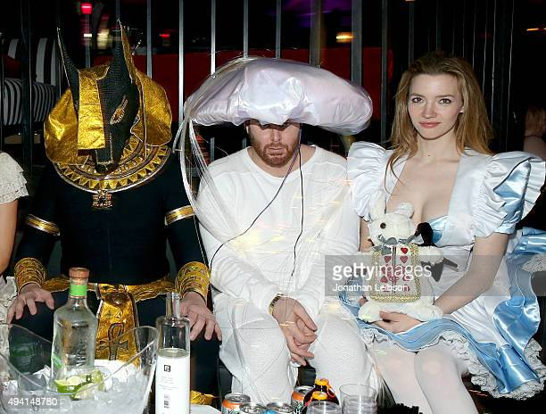Businessman/inventor Elon Musk entrepreneur Sean Parker and actress Talulah Riley attend the annual Halloween Party hosted by Playboy and Hugh Hefner...