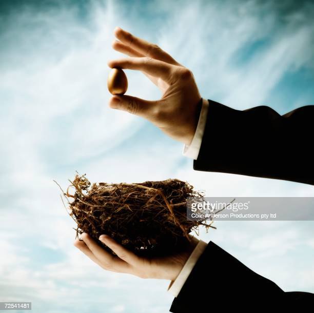 Businessman's hands holding nest and small egg