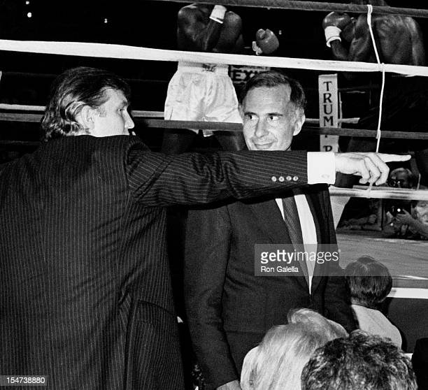 Businessmen Donald Trump and Carl Icahn attend Mike Tyson vs Michael Spinks Boxing Match on June 27 1988 at the Trump Plaza Hotel and Casino in...