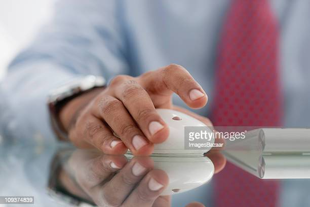 Businessmen hand using computer mouse