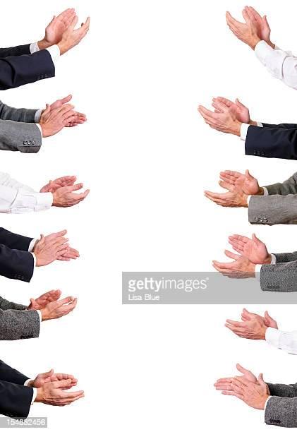 Hommes d'affaires les mains Clapping.Copy espace.