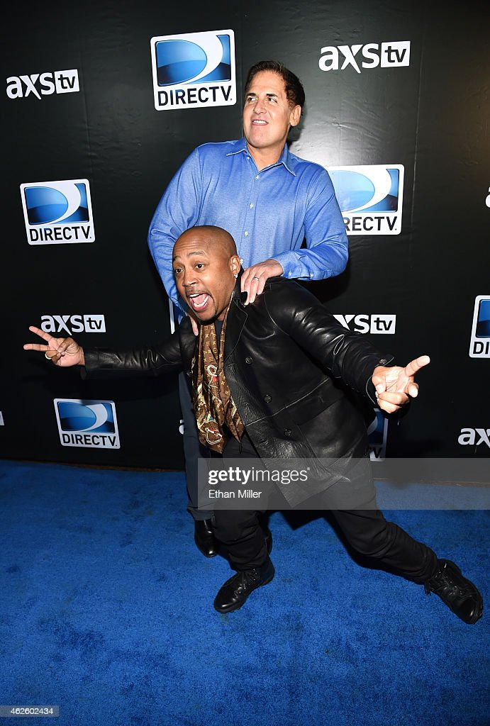 Businessmen Mark Cuban and Daymond John attend DirecTV Super Saturday Night hosted by Mark Cuban's AXS TV and Pro Football Hall of Famer Michael...