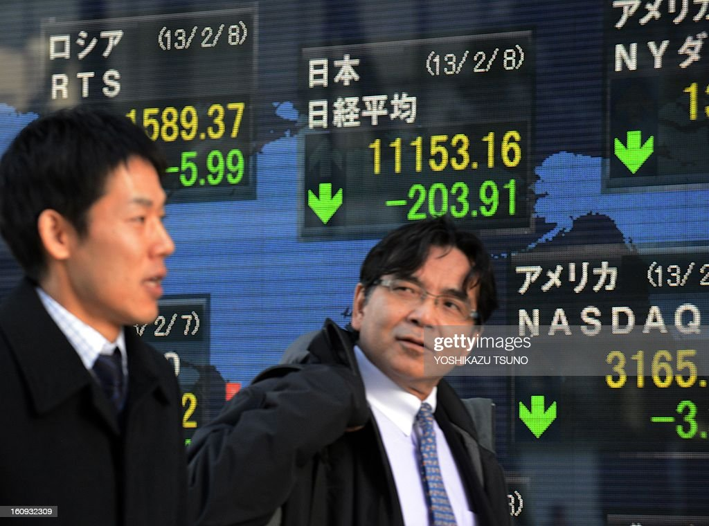 Businessmen pass before a share prices board in Tokyo on February 8, 2013. Japan's share prices fell 203.91 points to close at 11,153.16 points at the Tokyo Stock Exchange on profit-taking after it hit a four and a half-year high this week and as the yen rebounded from recent lows. AFP PHOTO / Yoshikazu TSUNO