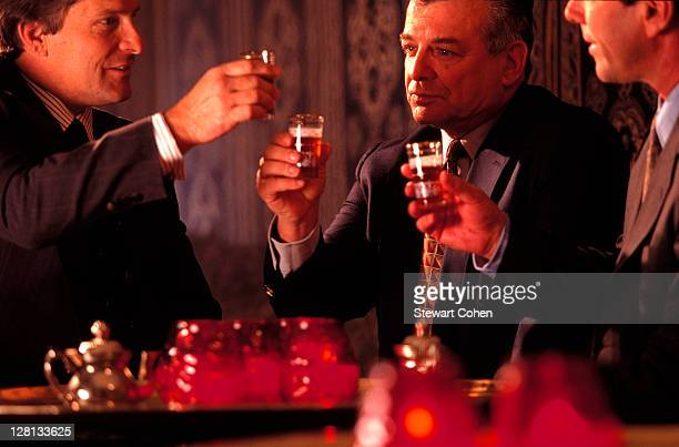 Businessmen sharing a toast in a bar