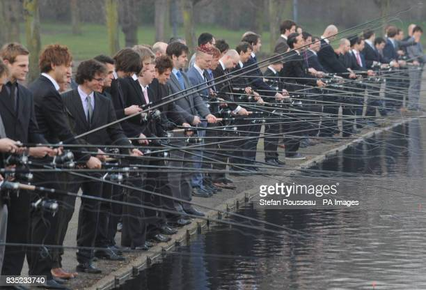 Businessmen take part in a photocall at Victoria Park in London organised by the new TV channel Discovery Shed which says that these days men don't...