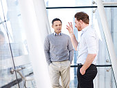 two caucasian business people having a casual conversation by the windows in modern office building.