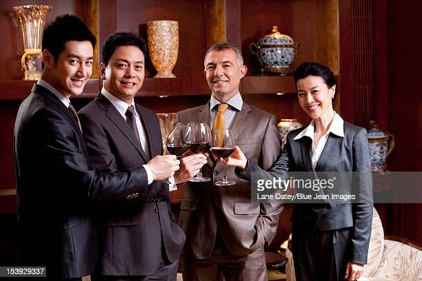 Businessmen toast for celebration