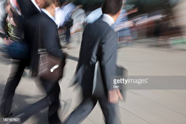 Businessmen Walking, Carrying Suitcases, Blurred Motion, Canary Wharf, London, England