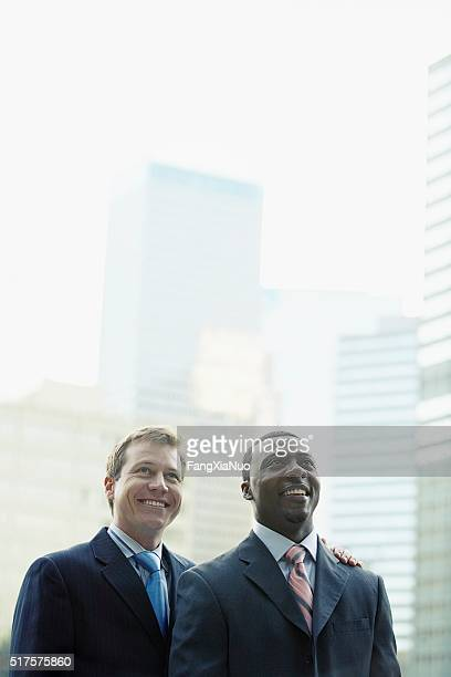 Businessmen with cityscape