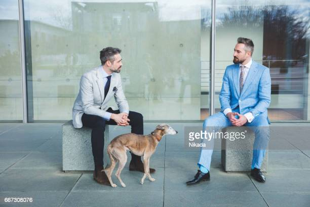 Businessmen with dog sitting on block of stone in city