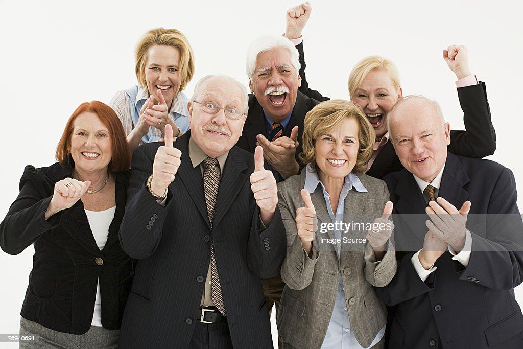 Businesspeople cheering : Stock Photo