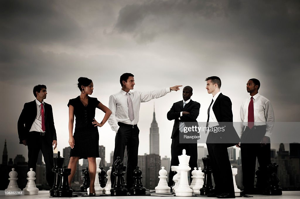 Businesspeople Chess concepts in the City