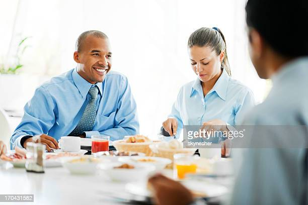 Businesspeople having a lunch break.