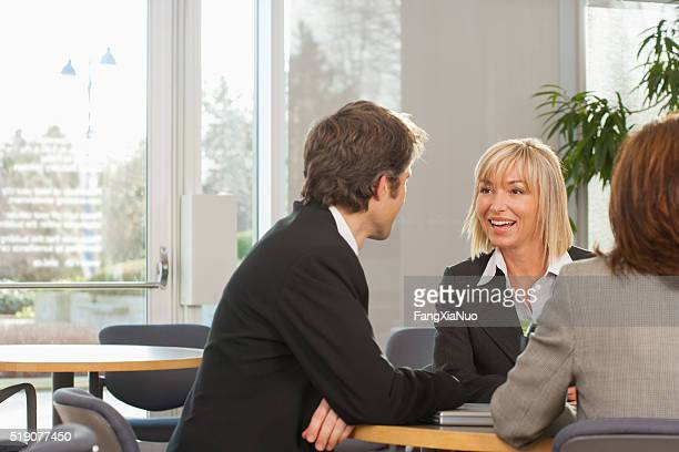 Businesspeople meeting in cafeteria
