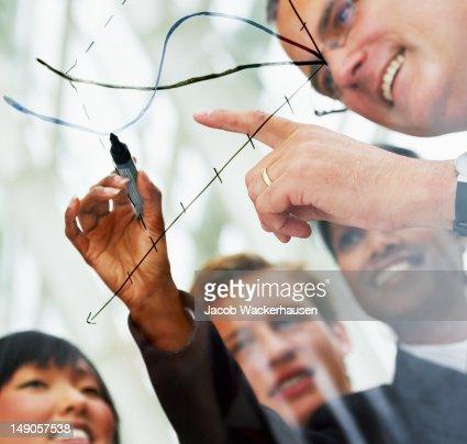 ビジネスマンをレビューし、パフォーマンスをグラフ