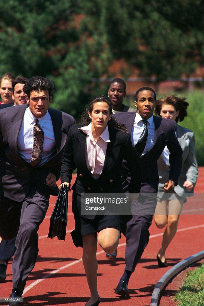 Businesspeople running race