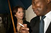 Businesspeople smoking