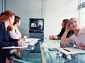 Businesspeople teleconferencing, Buenos Aires, Argentina