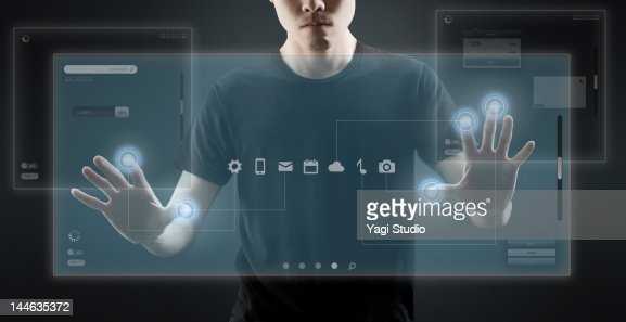 High Tech Monitor : Businesspeople using hitech computer monitor stock photo