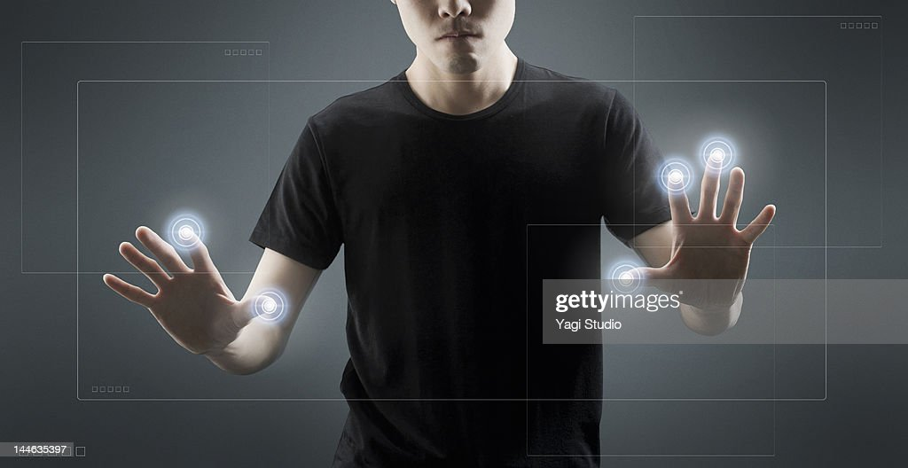 Businesspeople using hi-tech computer monitor : Stock Photo