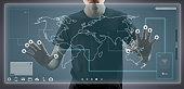 Businesspeople using hi-tech computer monitor