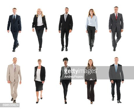 Businesspeople Walking Over White Background : Foto de stock