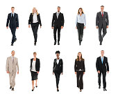 Collage Of Confident Businesspeople Walking Over White Background