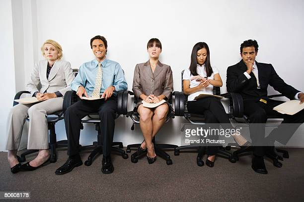 Businesspeople with various facial expressions