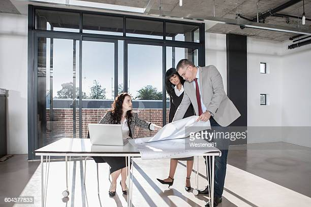 Businesspeople working in new open office