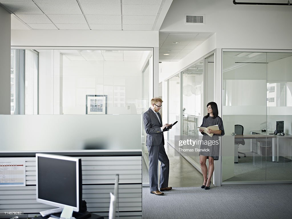 Businesswoman and businessman in discussion : Stock Photo